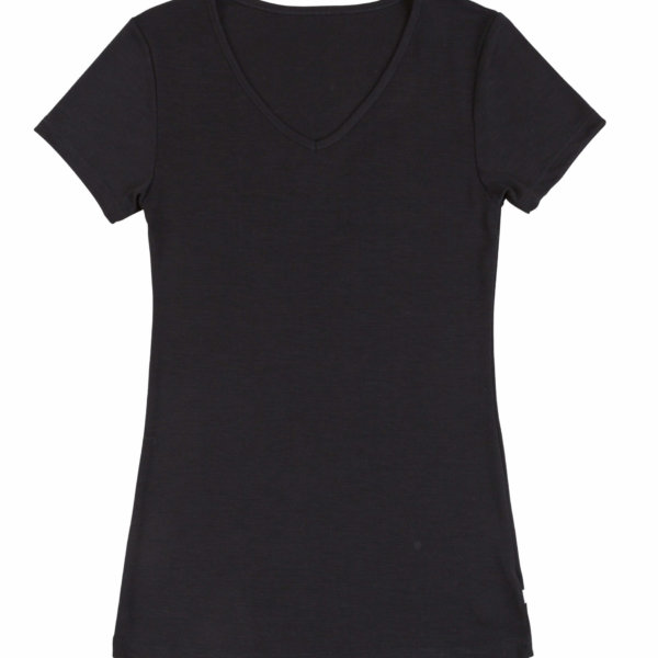Joha uld silke t-shirt med v-hals sort-0