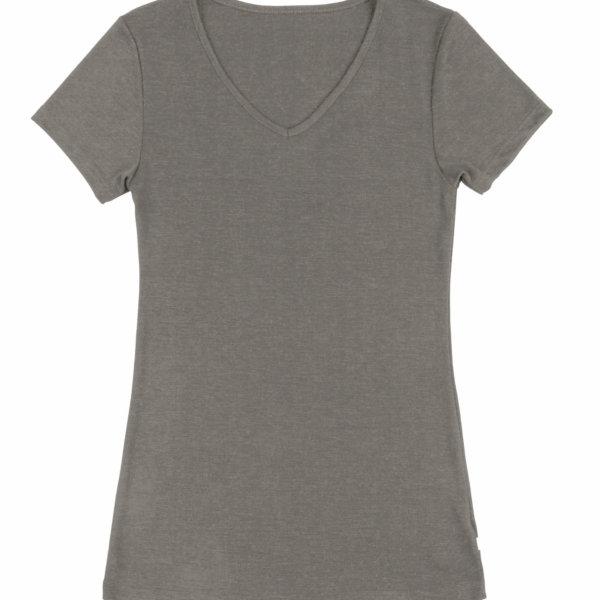 Joha uld silke t-shirt med v-hals beige-0