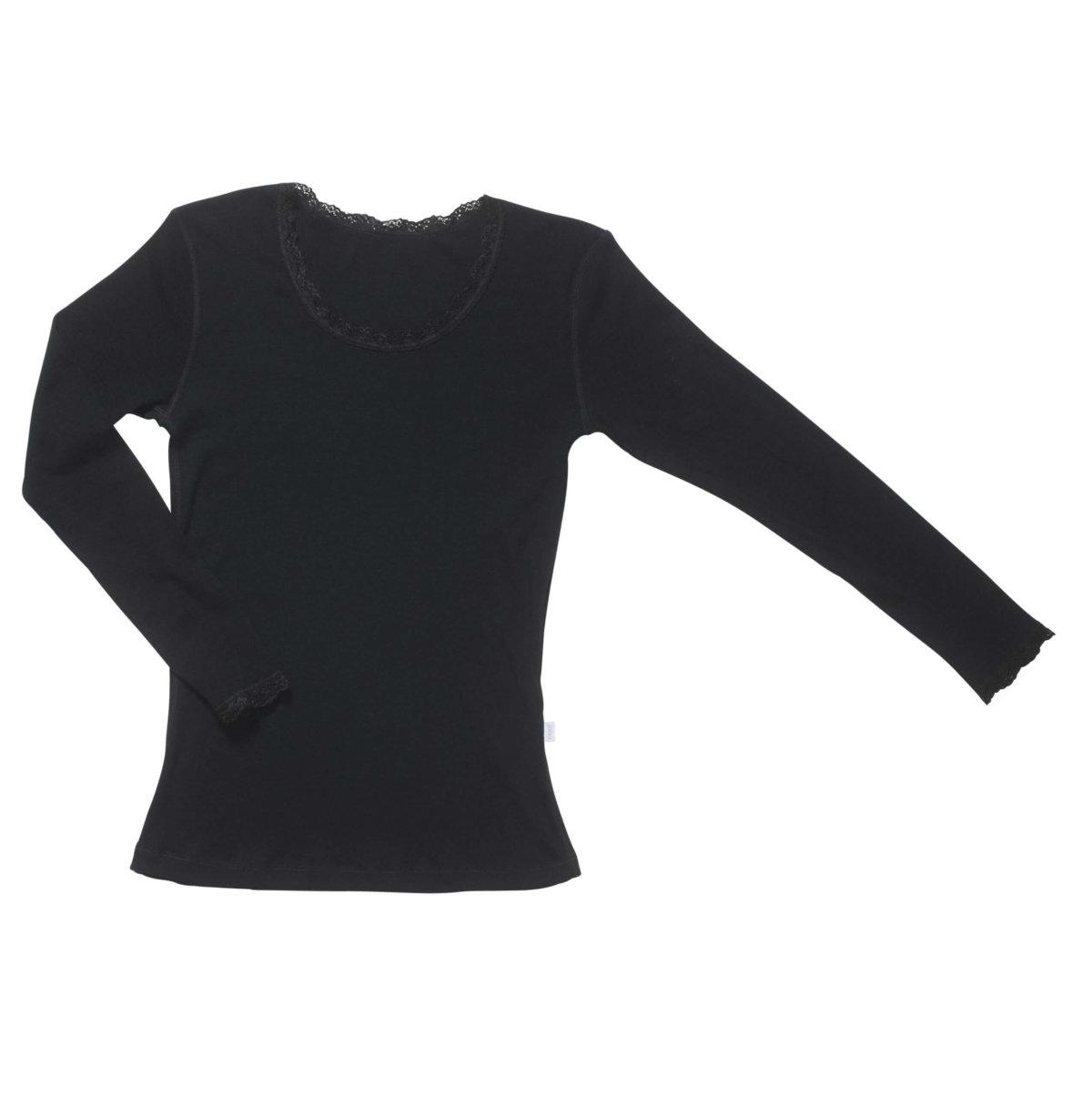 Joha uld langærmet t-shirt med blonde sort-0