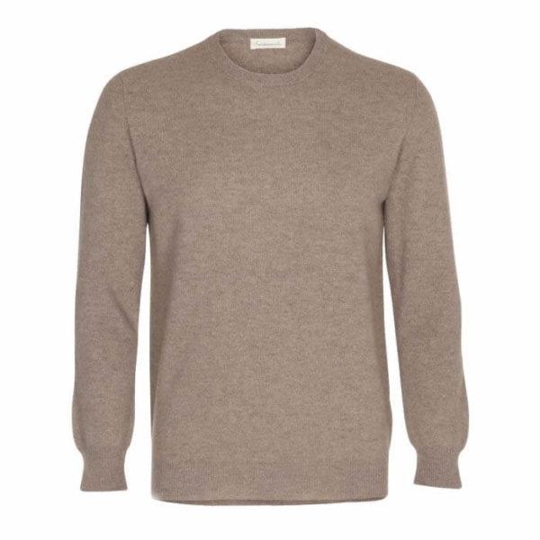 Scandinavianlux klassisk cashmere pullover med rund hals beige