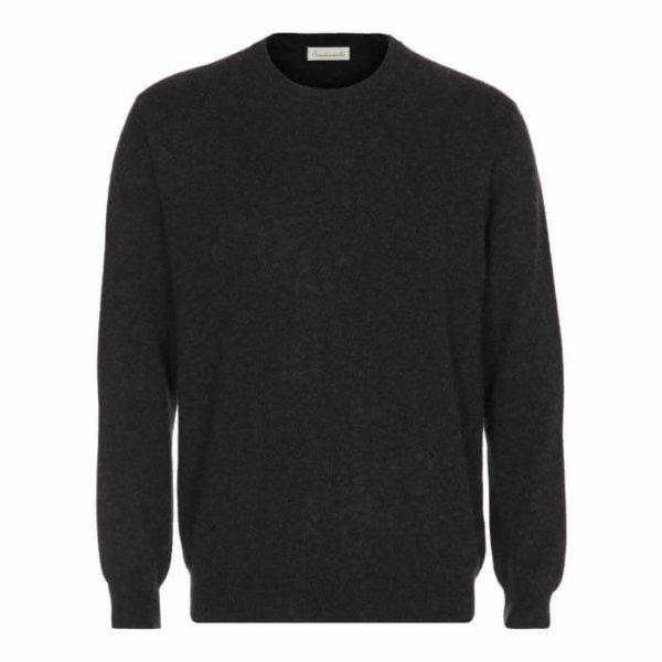 Scandinavinalux klassisk cashmere pullover med rund hals mørkegrå
