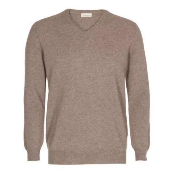 Scandinavianlux cashmere pullover med v-hals beige-0
