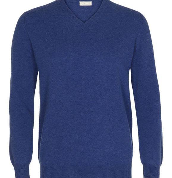 Scandinavianlux cashmere pullover med v-hals blå-0