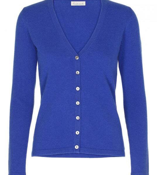 Scandinavianlux cashmere cardigan med v-hals blå-0