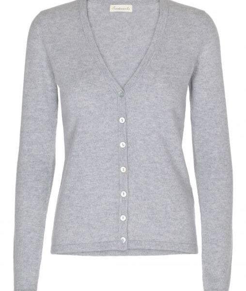 Scandinavianlux cashmere cardigan med v-hals lysegrå-0