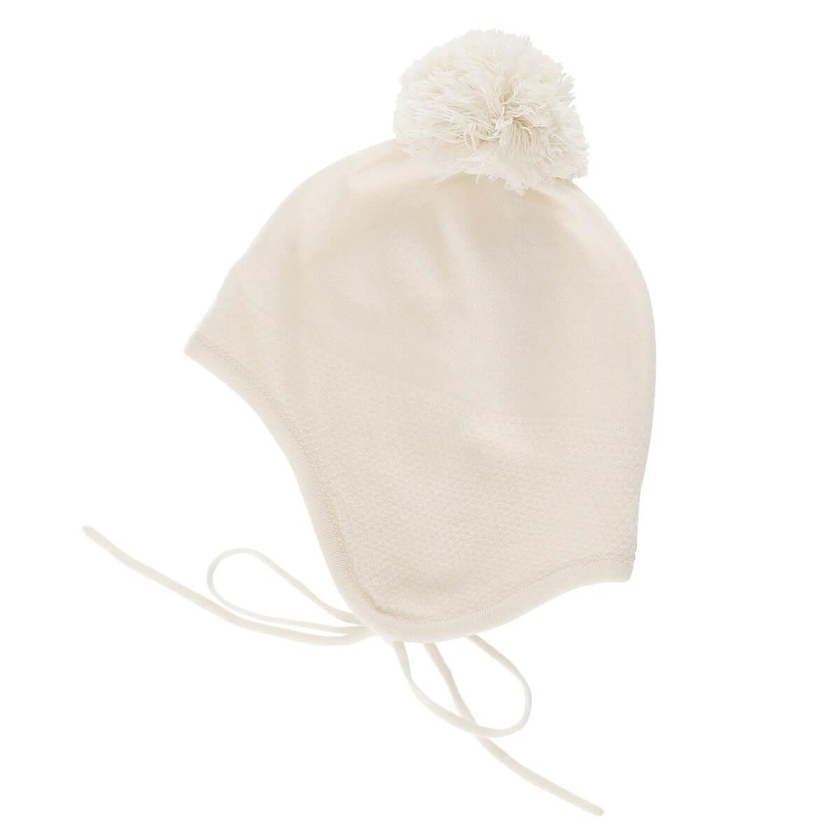 Minilux cashmere hue med pompon naturhvid-0