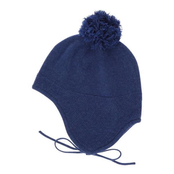 Minilux cashmere hue med pompon blå-0