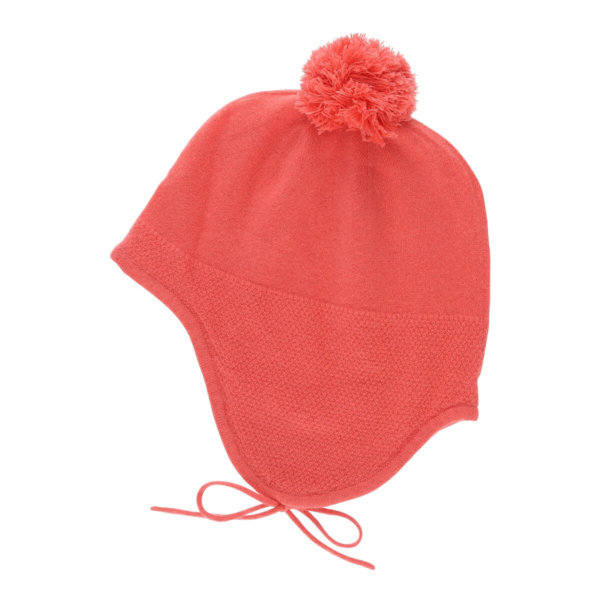 Minilux cashmere hue med pom pon fersken farvet-0