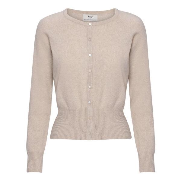 Scandinavianlux cashmere cardigan med bred rib lys beige-0