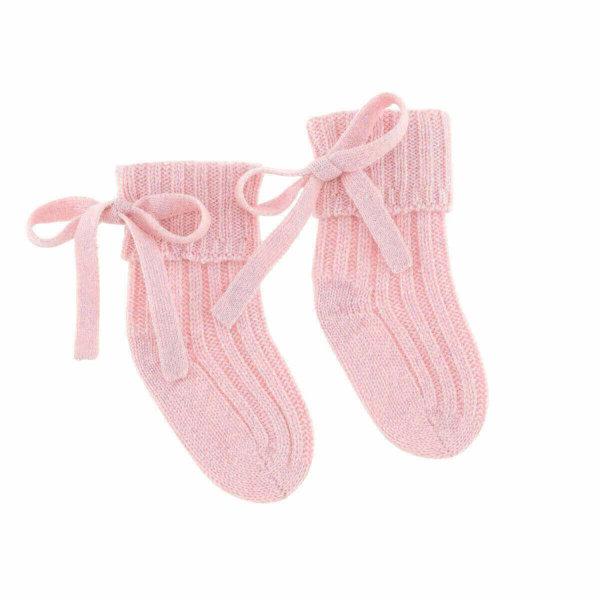 Minilux cashmere sokker baby pink-0