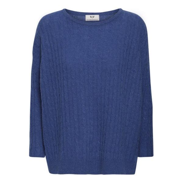 Scandinavianlux cashmere pullover i blå kabelstrik-0