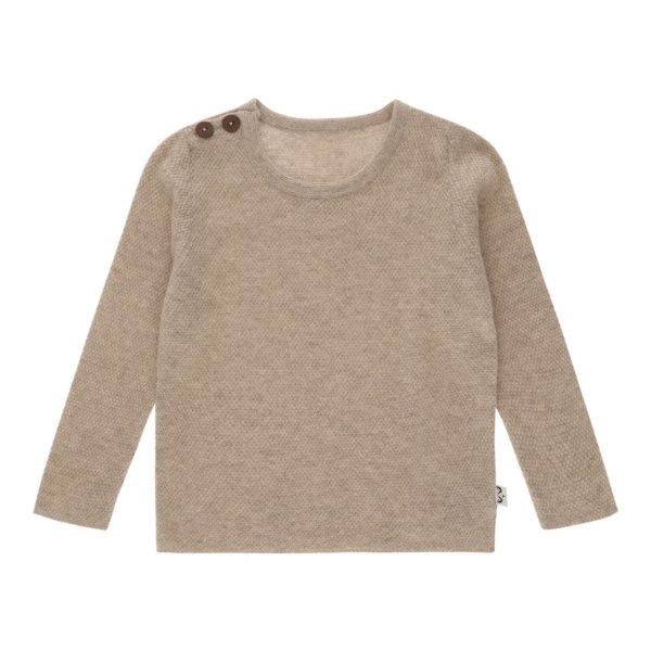 Minilux cashmere pullover med 2 knapper beige