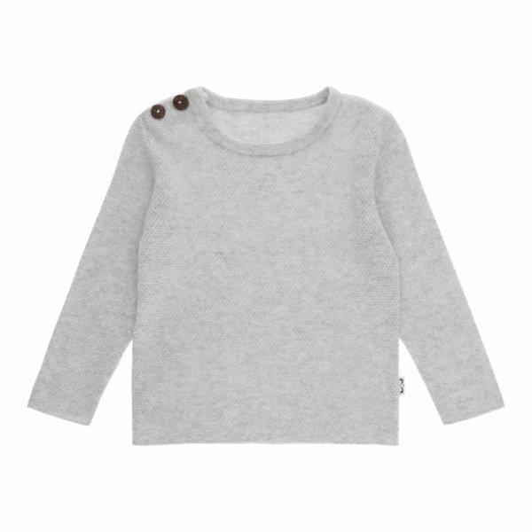 Minilux cashmere pullover med 2 knapper lysegrå