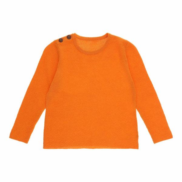 Minilux cashmere pullover med 2 knapper orange