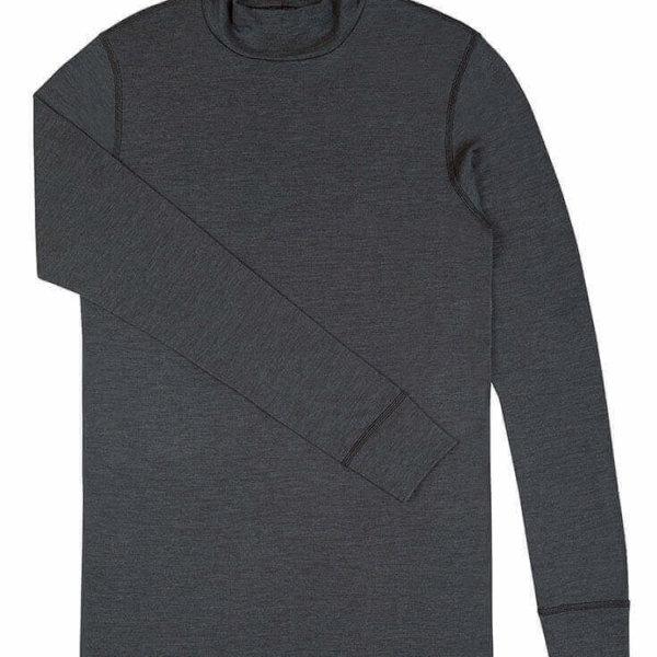 Johansen uld-silke langærmet t-shirt med rullekrave grå-0