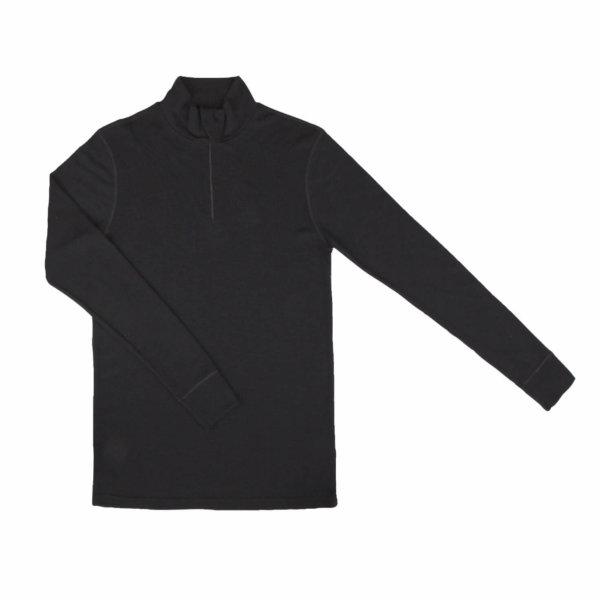 Johansen uld langærmet t-shirt med lynlås sort