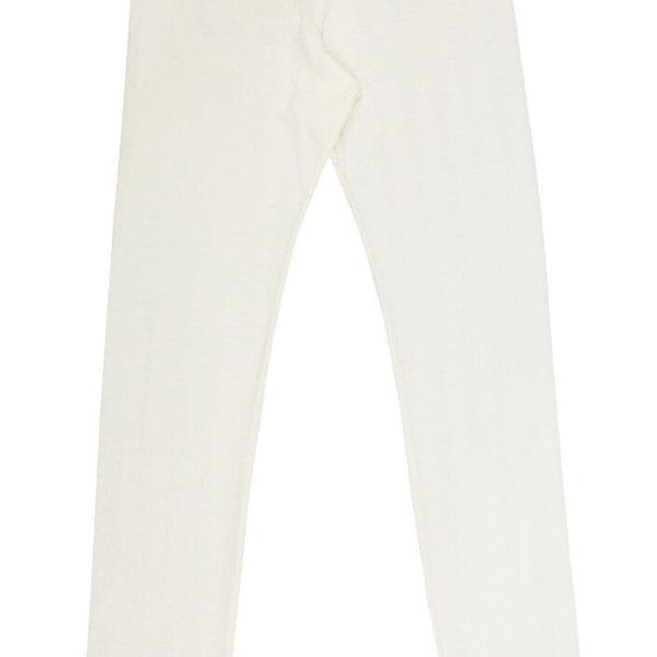 Joha uld-silke leggings med blondekant naturhvid-0