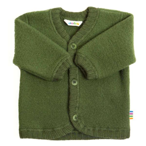 Joha børstet uld cardigan flaskegrøn-0