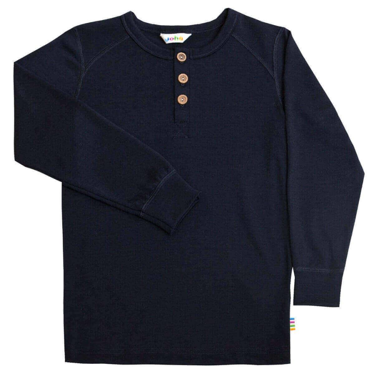 Joha uld langærmet bluse med knapper blå-0