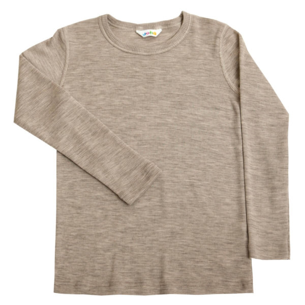 Joha uld-silke langærmet bluse i beige-0