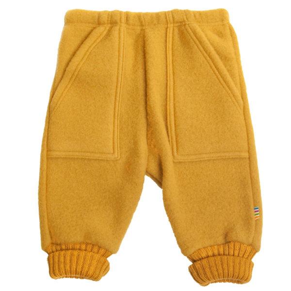 Joha børstet uld bukser i karrygul-0