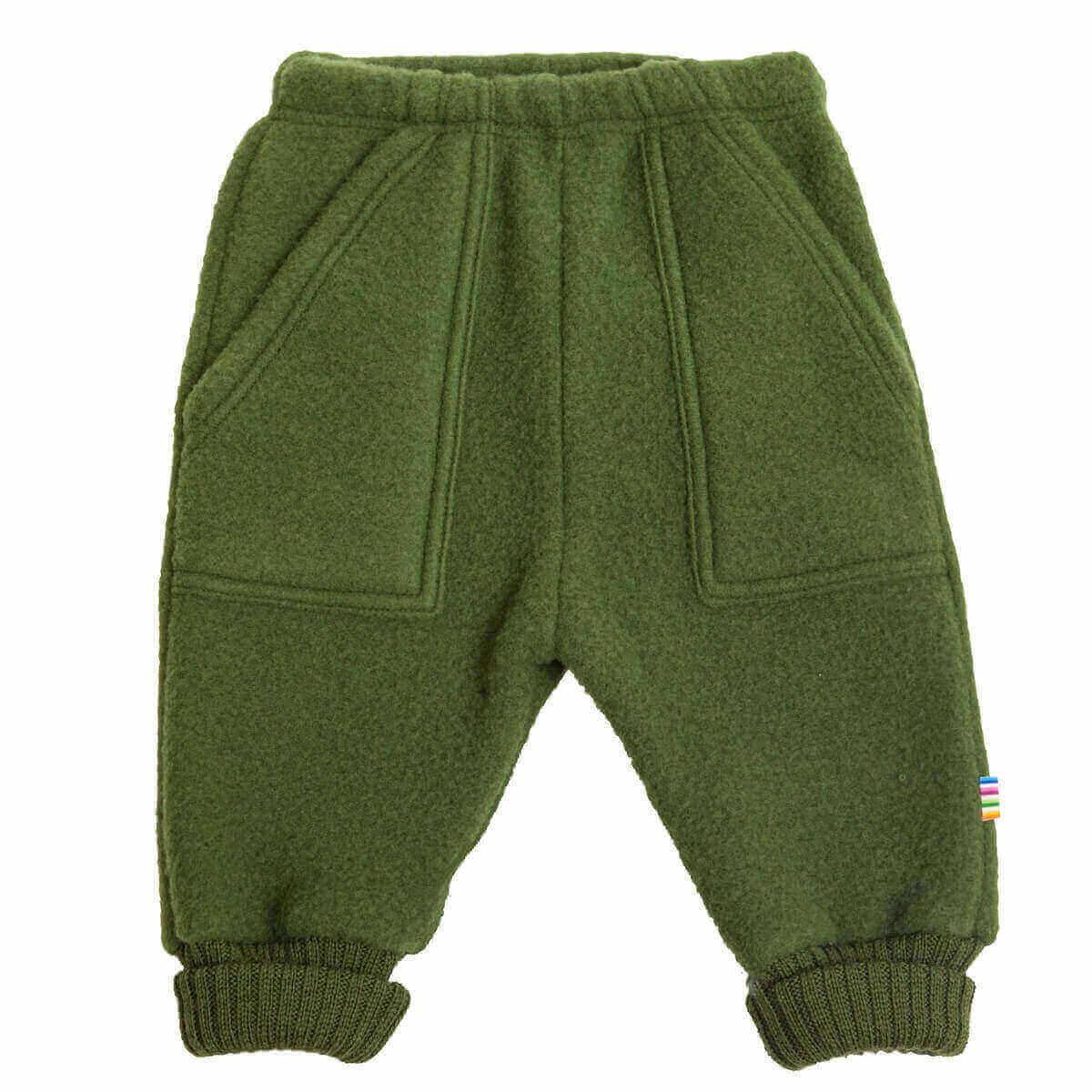 Joha børstet uld bukser i flaskegrøn-0