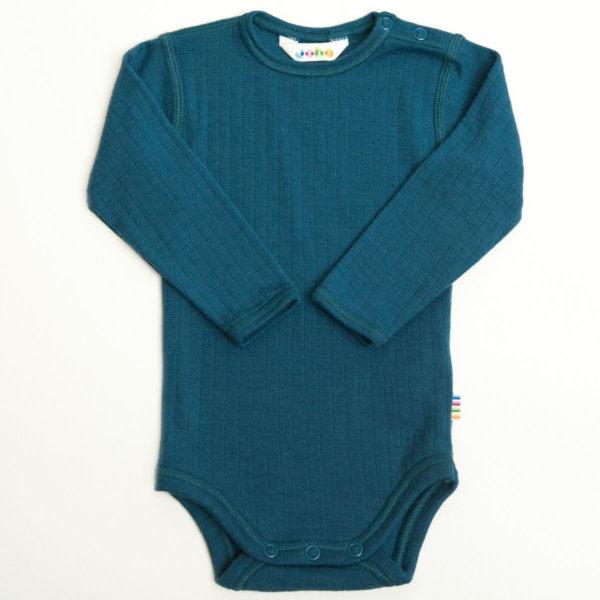 Joha uld body med lange ærmer petrol blå-0
