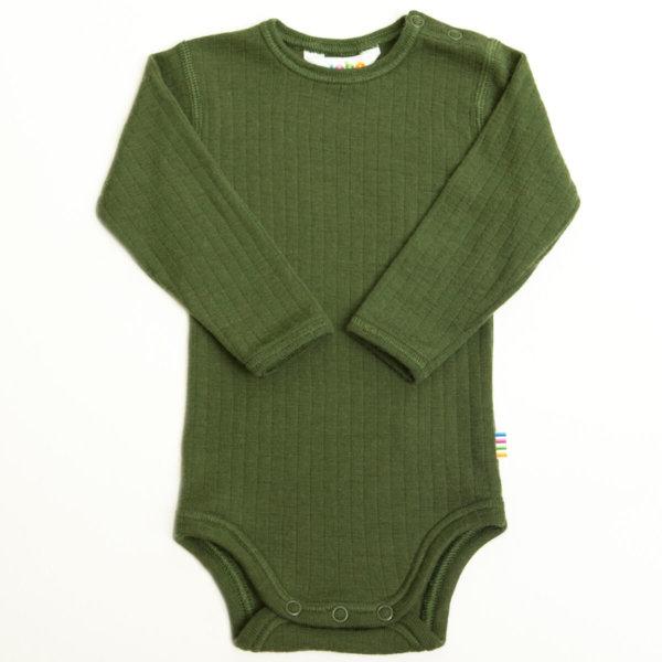 Joha uld body med lange ærmer flaskegrøn-0