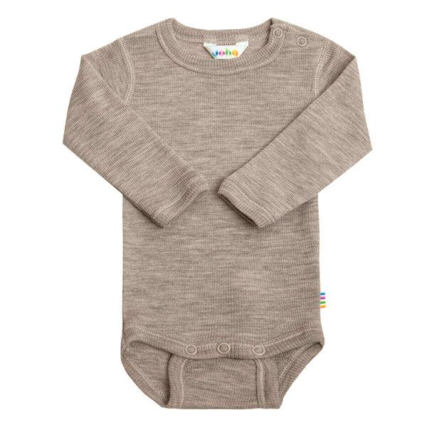 Joha uld/silke body med lange ærmer i beige-0