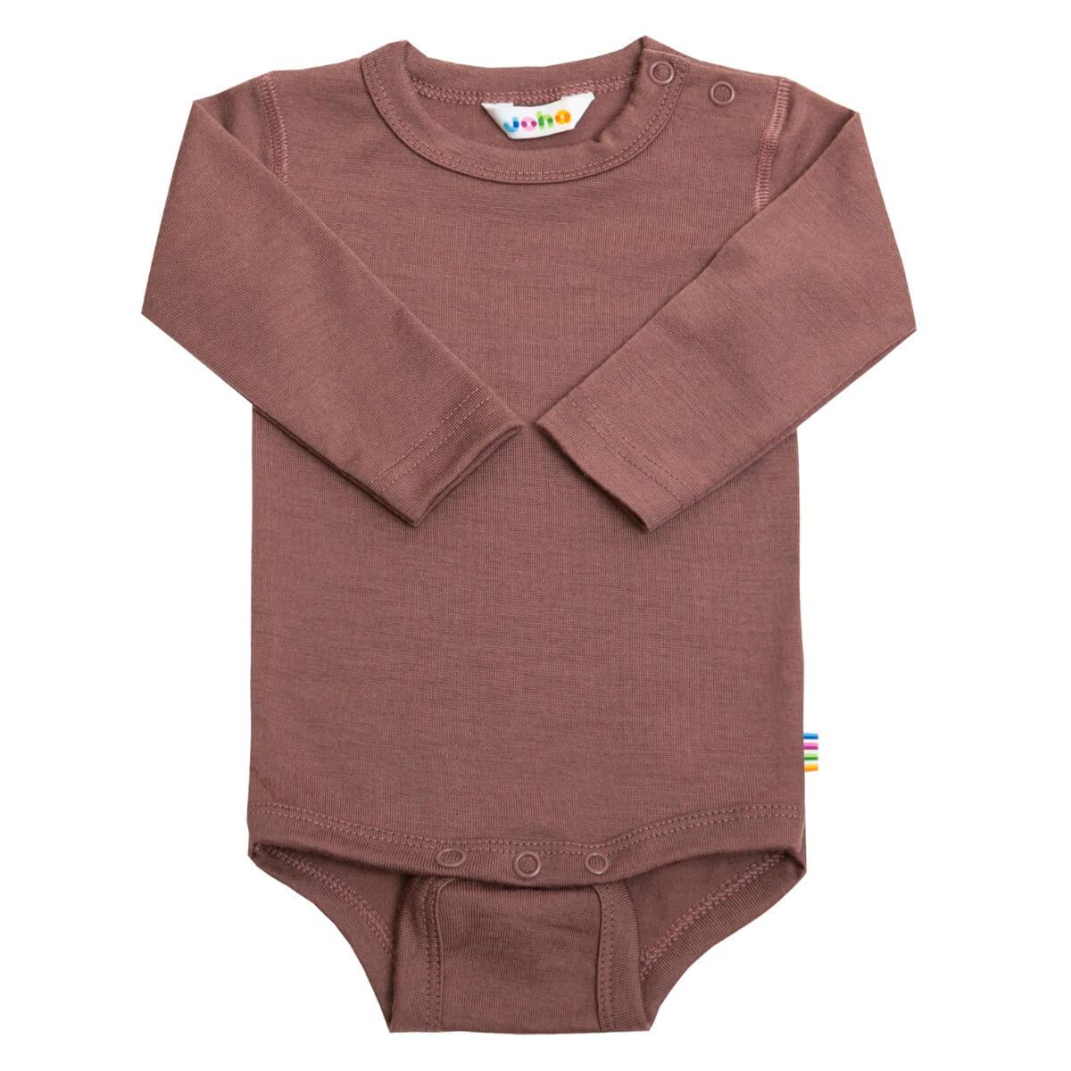 Joha uld body med lange ærmer blommefarvet-0