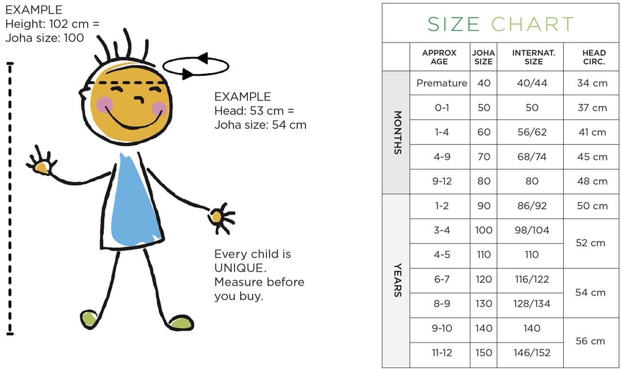 Størrelses guide børn