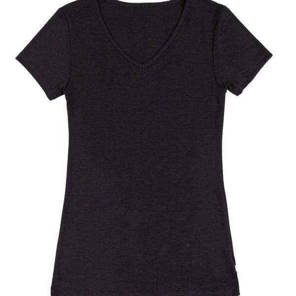 Joha uld silke t-shirt med v-hals sort