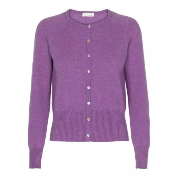 Scandinavianlux cashmere cardigan med bred rib lilla