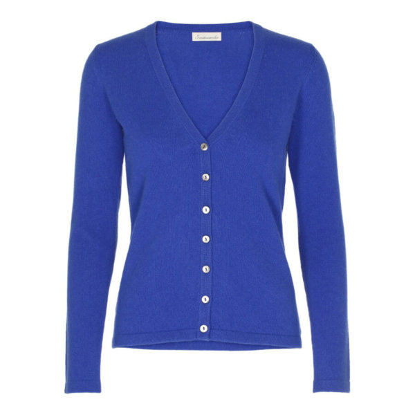 Ladies v-neck cardigan-Blue-10107-X-Large-0