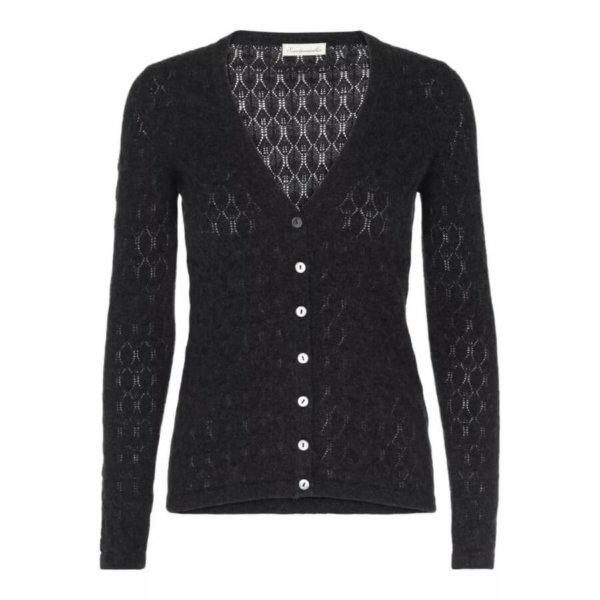 Scandinavianlux cashmere cardigan i blondestrik med v-udskæring mørkegrå til kvinder.