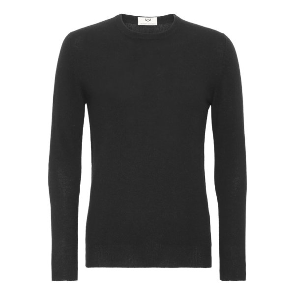 Scandinavianlux klassisk cashmere pullover med rund hals i sort