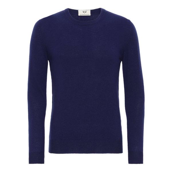 Scandinavianlux klassisk cashmere pullover med rund hals marineblå