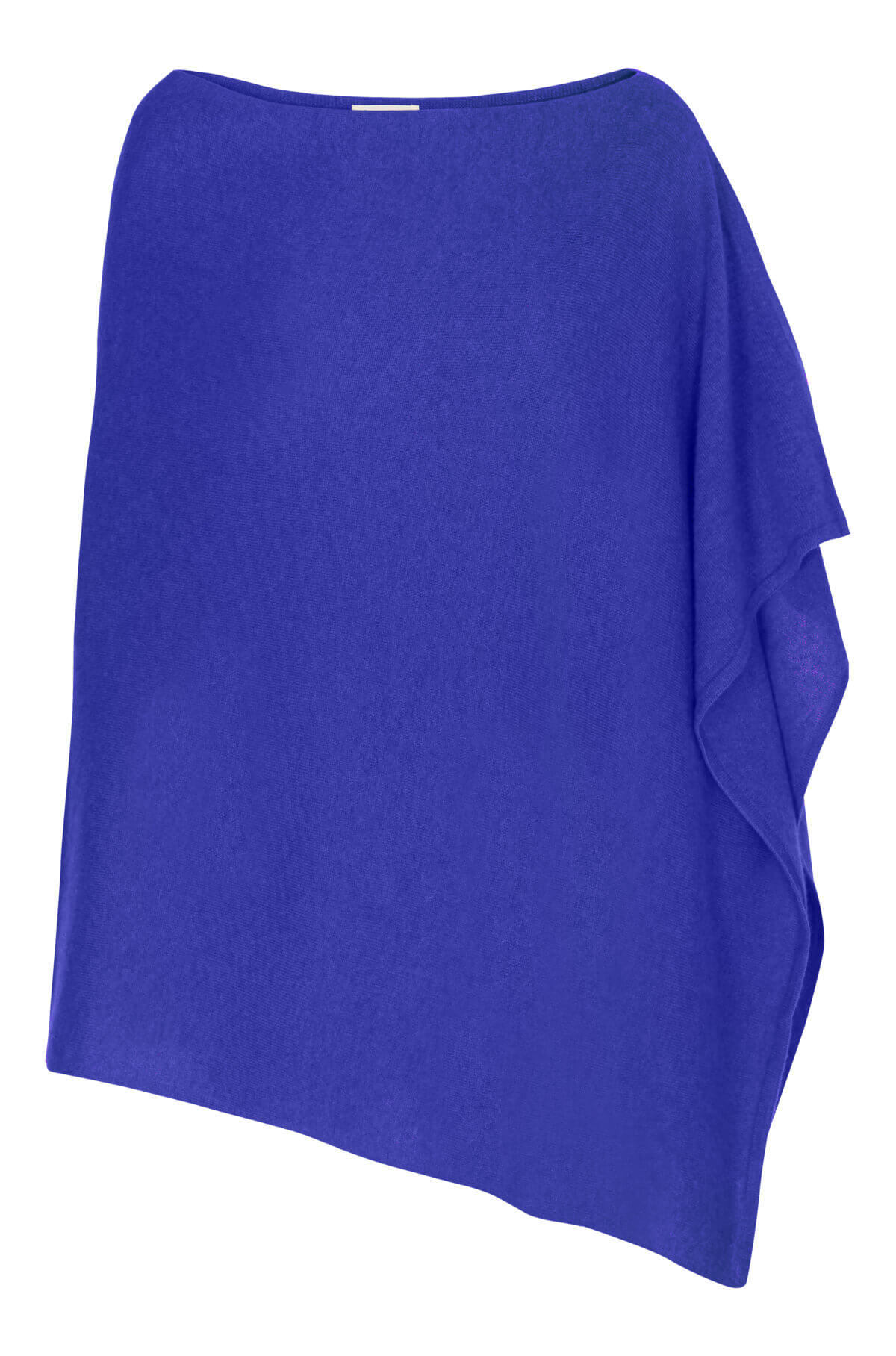 Cashmere poncho i blå
