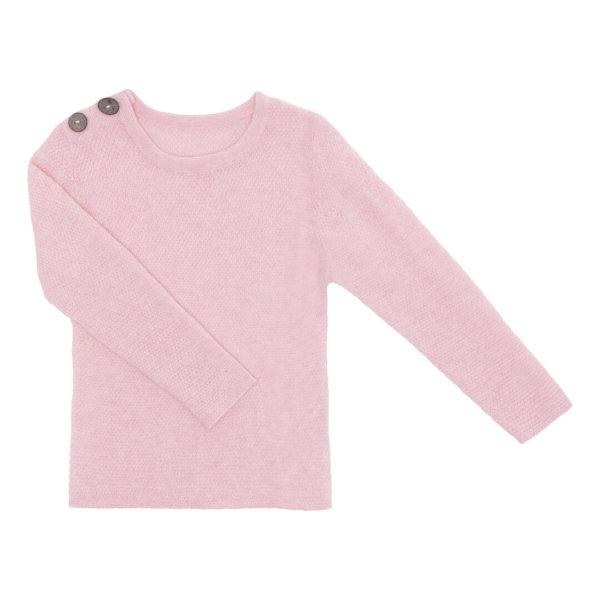 Minilux cashmere pullover i lyserød med 2 knapper ved skulder