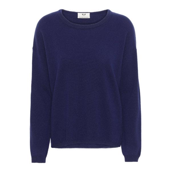 Scandinavianlux klassisk cashmere pullover med rund hals i blå