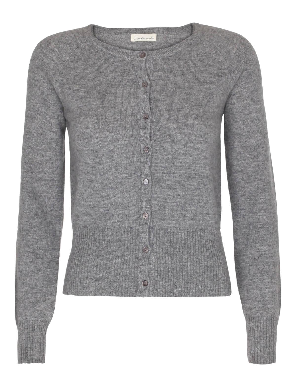 Scandinavianlux cashmere cardigan med bred rib kant grå